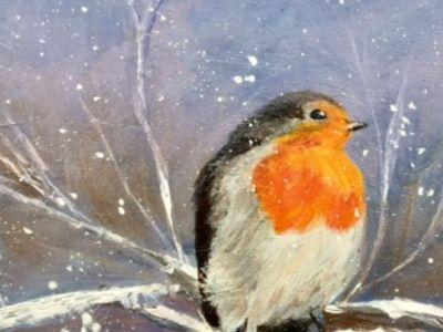 Rosie Mackay - Christmas Robin - Acrylics