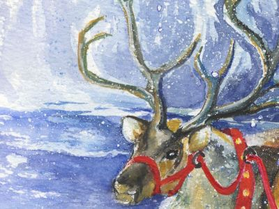 Gillian Kingslake - Are we ready, Santa - Watercolour