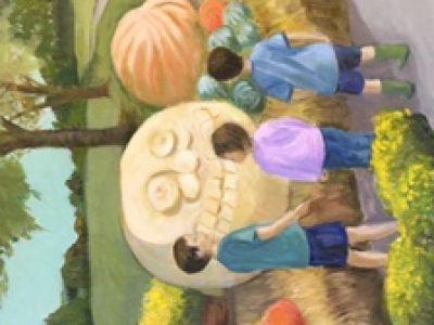 Lola Christie - Oil on canvas - Pumpkin Season USA Style