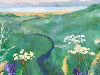Kate Blackie - Mixed Media - Path to the Beach on a Summer Evening