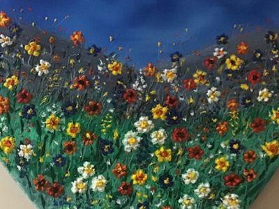 Ann Stewart - Oil on Heart Canvas - Summer Love