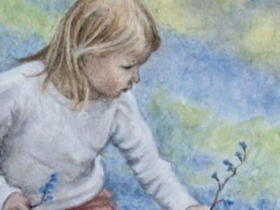 Margaret Lonsdale - Watercolour - Spring, Picking bluebells