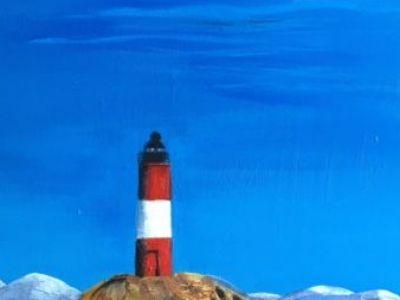 Rose Mary Mackay - Acrylic - Norwegian Island Lighthouse in Winter