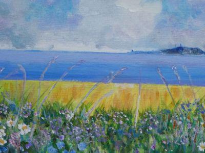 Fiona McNeish - Acrylic - Summer Fields towards Isle of May