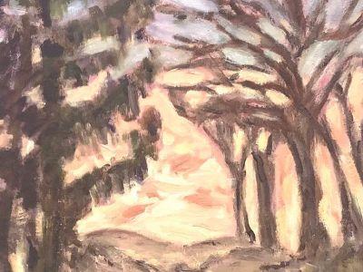 Irene Cochran - Oil on canvas - Winter Sunset Milngavie 2021