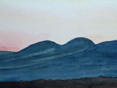 D.C. Russell - Paps of Jura sunset - Watercolour