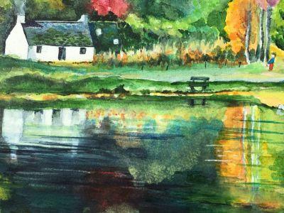 Maureen McIntosh - Autumn Loch an Eilein - Watercolour